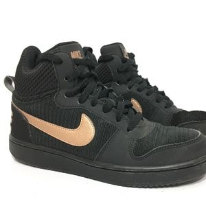 NIKE WOMENS COURT BOROUGH MID SNEAKERS BLACK COPPER SWOOSH 844907-002 SIZE 6.5